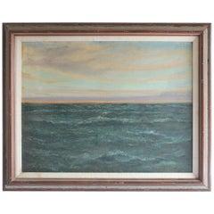 Vintage Ocean Oil Painting in Wood Frame