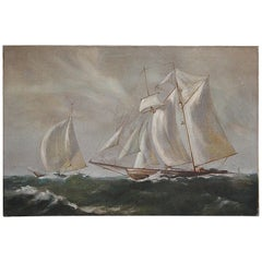 Vintage Ocean Sailboat Ship Oil on Canvas Painting