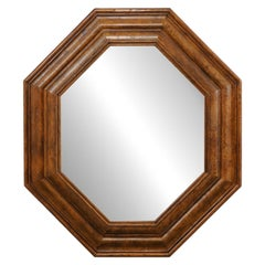 Vintage Octagonal-Shaped Mirror with Burled-Walnut Surround
