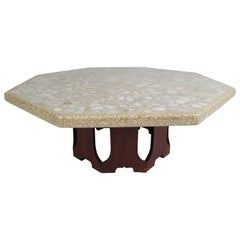 Vintage Octagonal Stone Composite Top Coffee Table