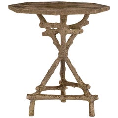Vintage Octagonal Top Faux Bois Garden Table