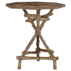 Vintage Octagonal Top Faux Bois Garden Table