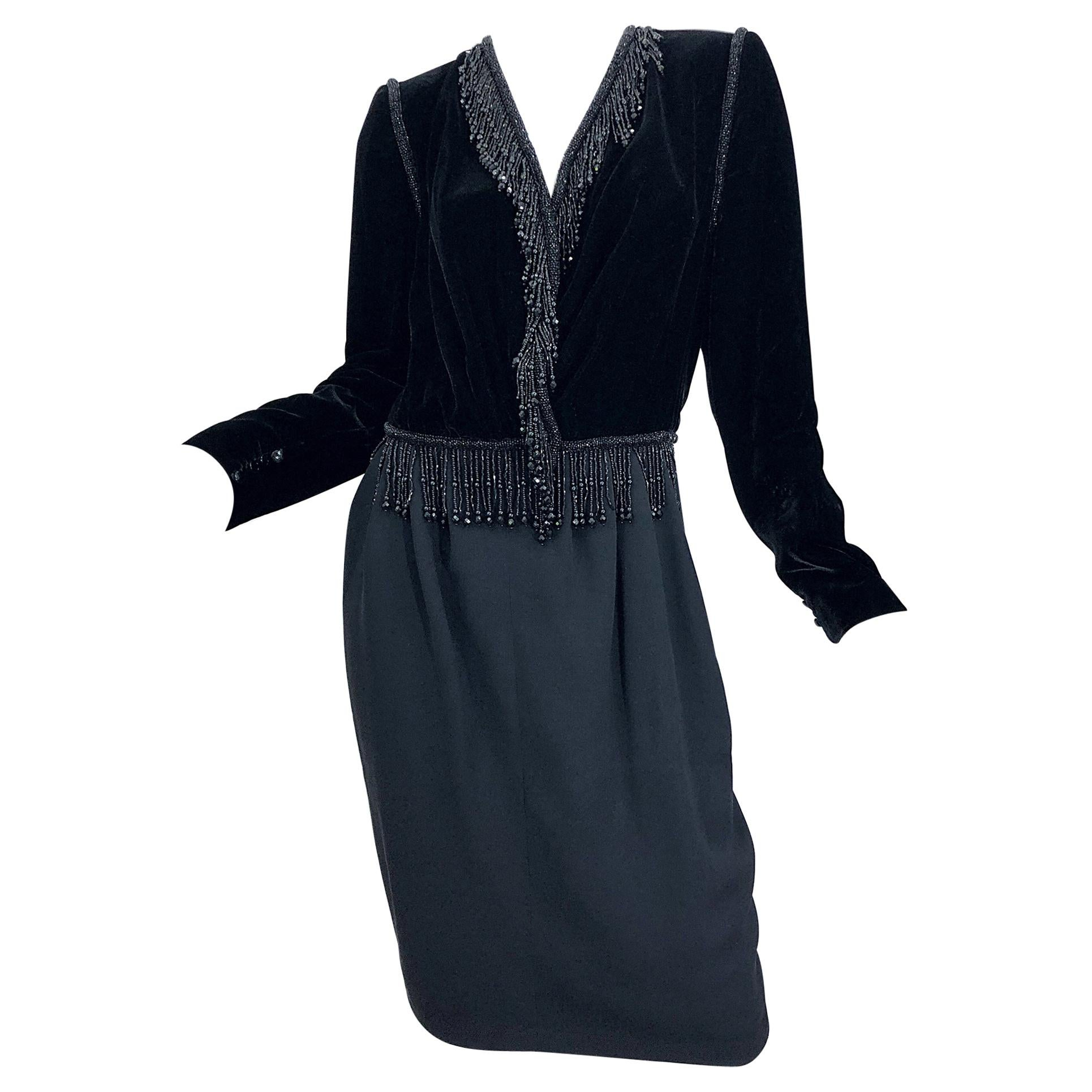 Vintage Odicini Couture Black Velvet Rayon Beaded Large Size Long Sleeve Dress