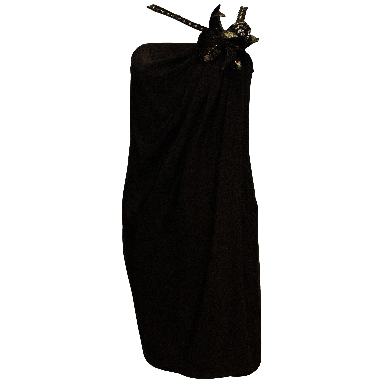 Vintage Odicini Couture Silk Black Silk Cocktail Dress