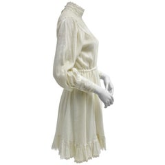 Vintage Off White Boho Day Dress with Laces 1970s France