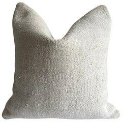 Vintage Off-White Turkish Hemp Rug Pillow Cover