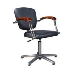 Vintage Office Chair, English, Industrial, Beech, Adjustable, Desk Seat, C.1980