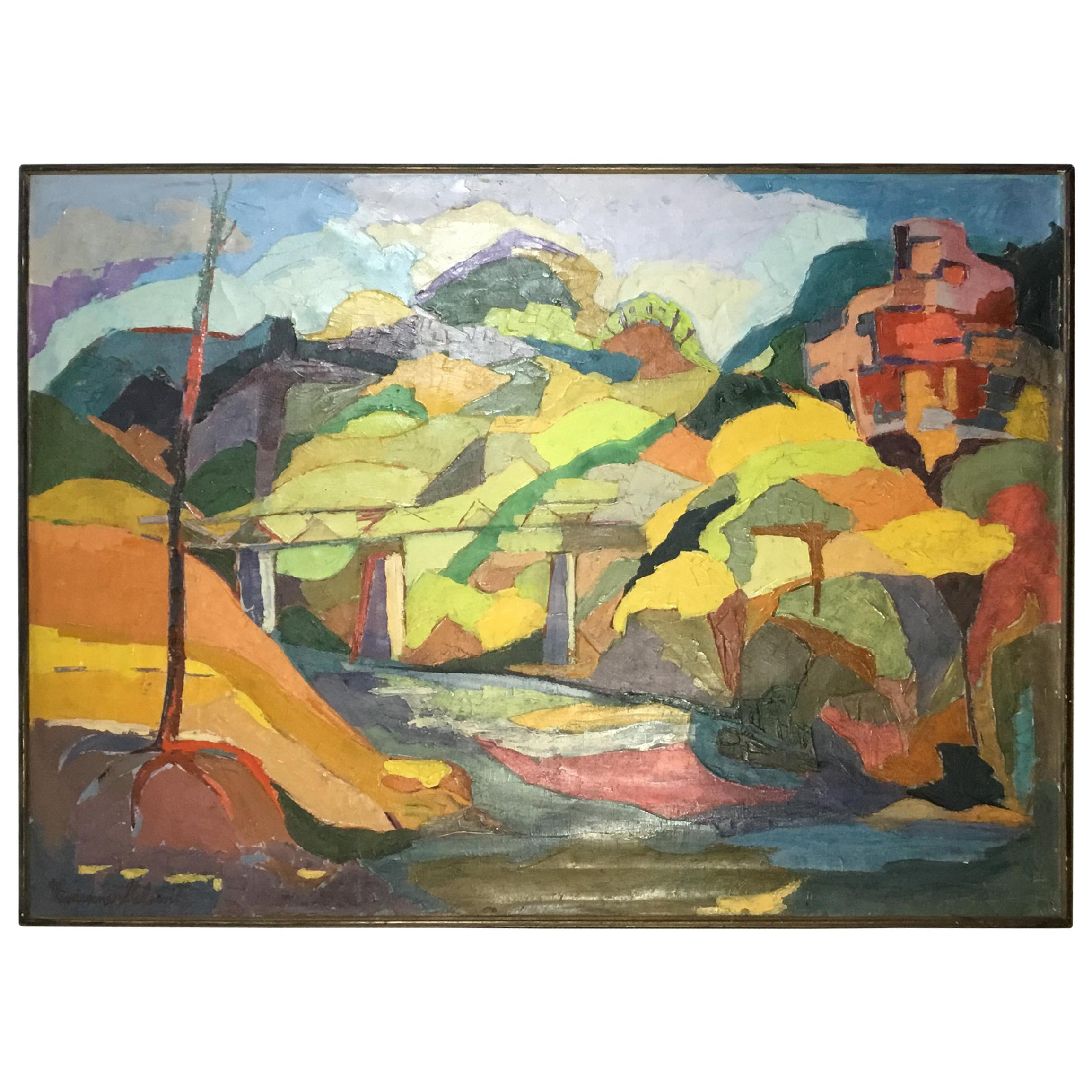 Vintage Oil on Canvas Painting by Vivienne Galowitz