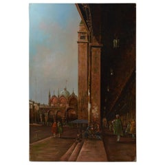 Vintage Oil on Canvas Painting of Piazza San Marco, Venice