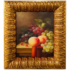 Vintage Oil on Canvas Still Life Fruit Painting, Framed