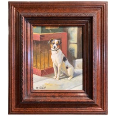 Vintage Oil on Canvas Terrier Painting in Carved Frame Signed M. Cahill