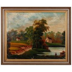 Vintage Oil on Canvas Thomas Chambers School Landscape, 20th Century