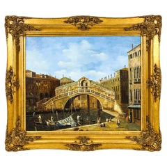 Vintage Oil Paintiing View of The Rialto Bridge in Venice, Mid 20th C
