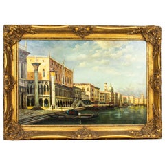 Vintage Oil Painting Doges' Palace & Piazza San Marco Venice Mid 20th C