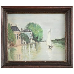 Vintage Oil Painting of a Sailboat on a River