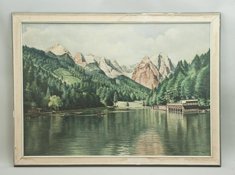 Vintage Oil Painting of Rissersee, Bavaria by Karl Walther For Sale 7