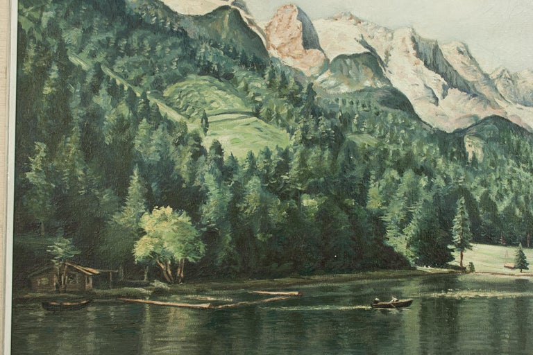 Vintage Oil Painting of Rissersee, Bavaria by Karl Walther In Good Condition For Sale In Oxfordshire, GB
