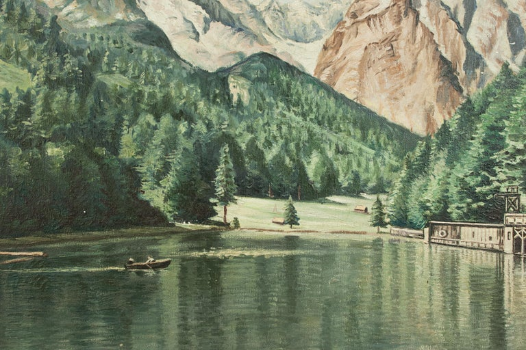 Mid-20th Century Vintage Oil Painting of Rissersee, Bavaria by Karl Walther For Sale