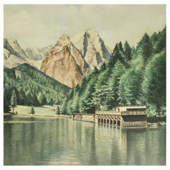 Vintage Oil Painting of Rissersee, Bavaria by Karl Walther