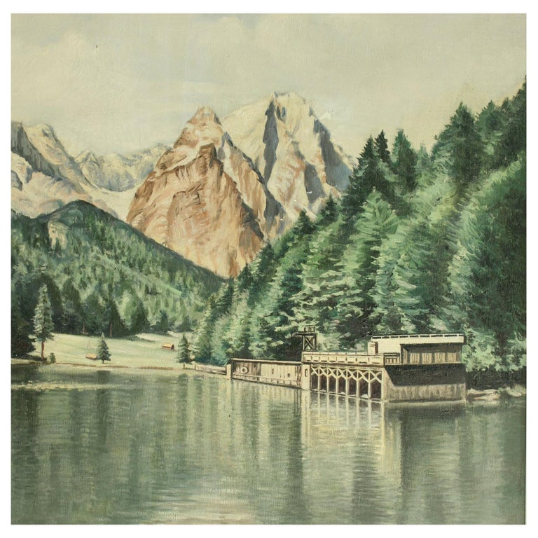 Vintage Oil Painting of Rissersee, Bavaria by Karl Walther For Sale