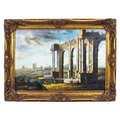 Vintage Oil Painting of Roman Temple Ruins, Mid 20th C