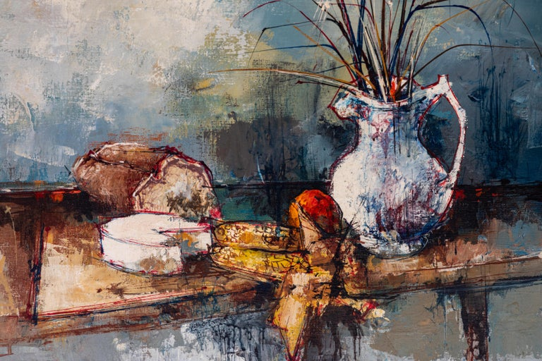 Modern Vintage Oil Painting of Still Life, Signed by Artist, Aldo, 1964 For Sale