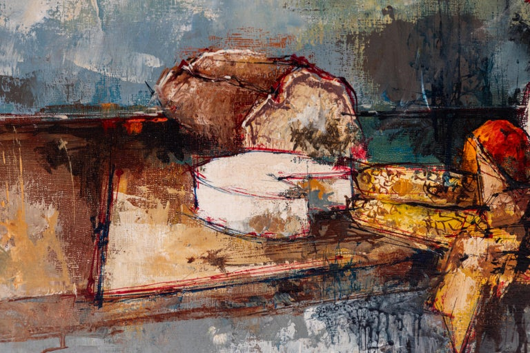 French Vintage Oil Painting of Still Life, Signed by Artist, Aldo, 1964 For Sale