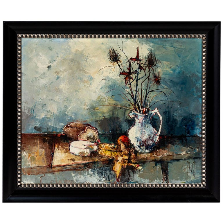 Vintage Oil Painting of Still Life, Signed by Artist, Aldo, 1964 For Sale
