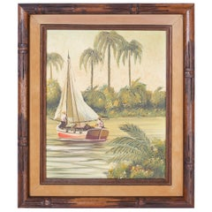 Vintage Oil Painting on Canvas of a Tropical Scene with Sailboat