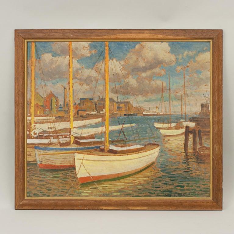 Vintage Oil Painting, Poole Harbour by Arthur Tivoli For Sale 5