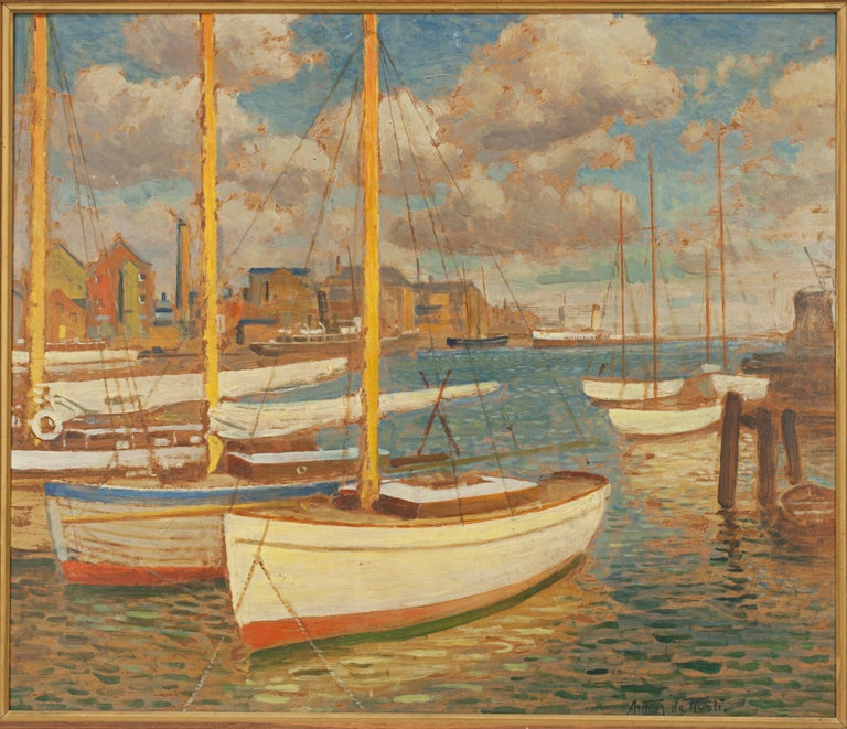 Oil on board by Arthur De Tivoli, Poole Harbour. A very good oil on board by the Italian artist Arthur (arturo) de Tivoli (1891 - 1961) of Poole harbour, signed lower right by the artist. There is a hand written label on the rear that reads 'Arthur
