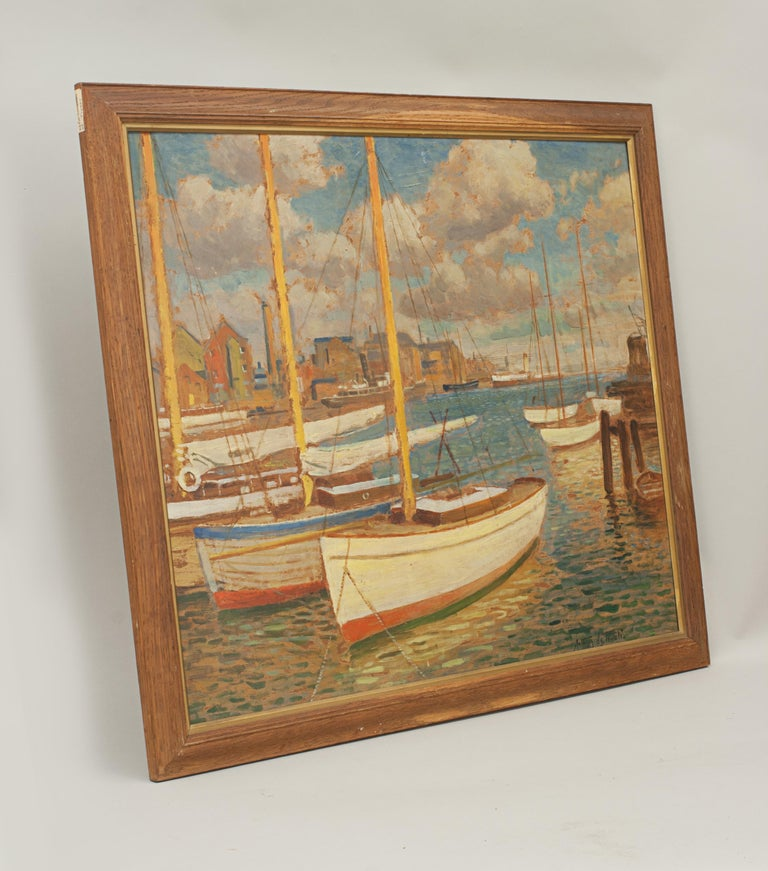 Sporting Art Vintage Oil Painting, Poole Harbour by Arthur Tivoli For Sale