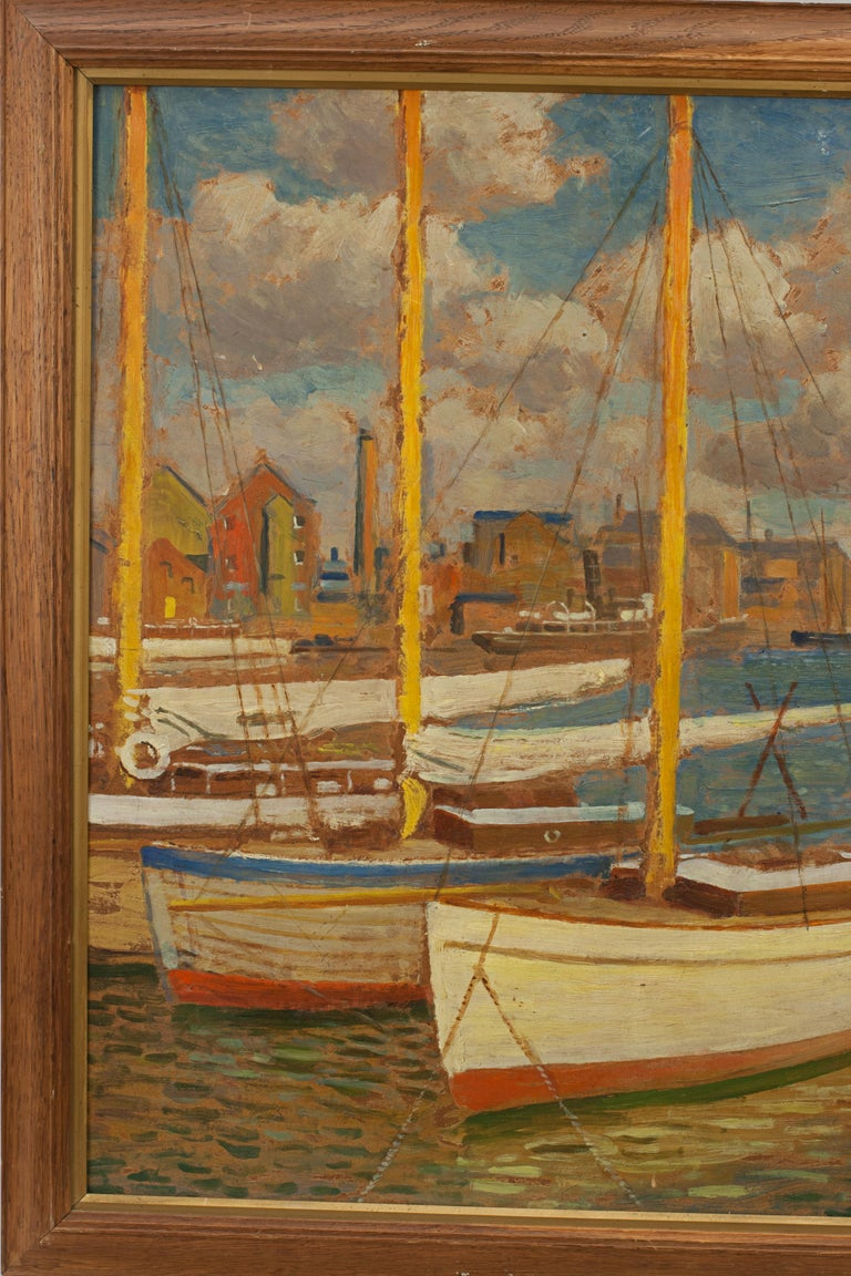 Vintage Oil Painting, Poole Harbour by Arthur Tivoli In Good Condition For Sale In Oxfordshire, GB
