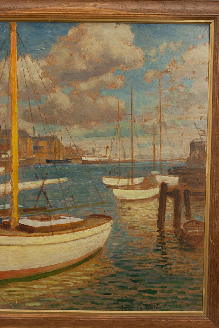 Early 20th Century Vintage Oil Painting, Poole Harbour by Arthur Tivoli For Sale