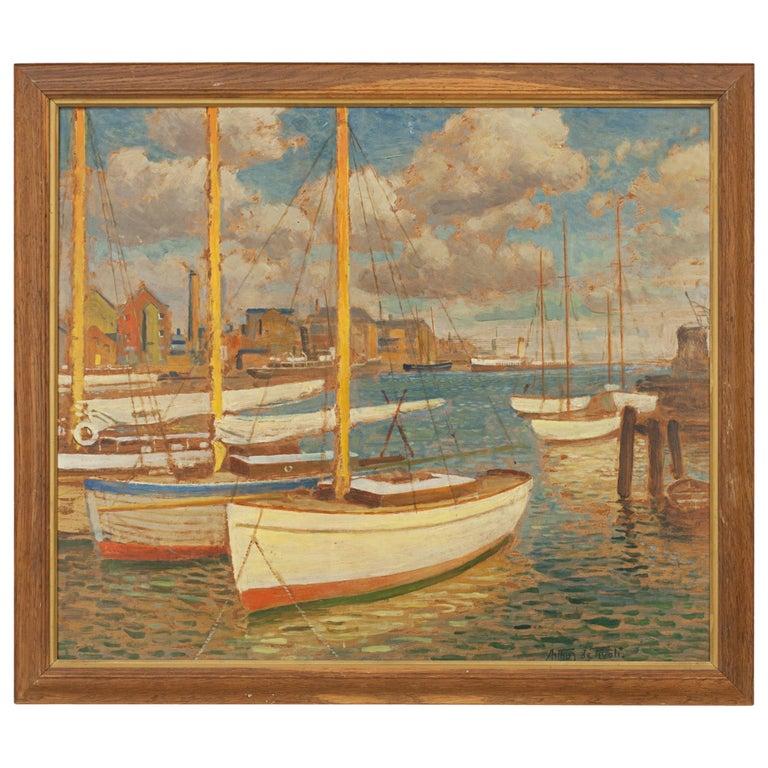 Vintage Oil Painting, Poole Harbour by Arthur Tivoli For Sale