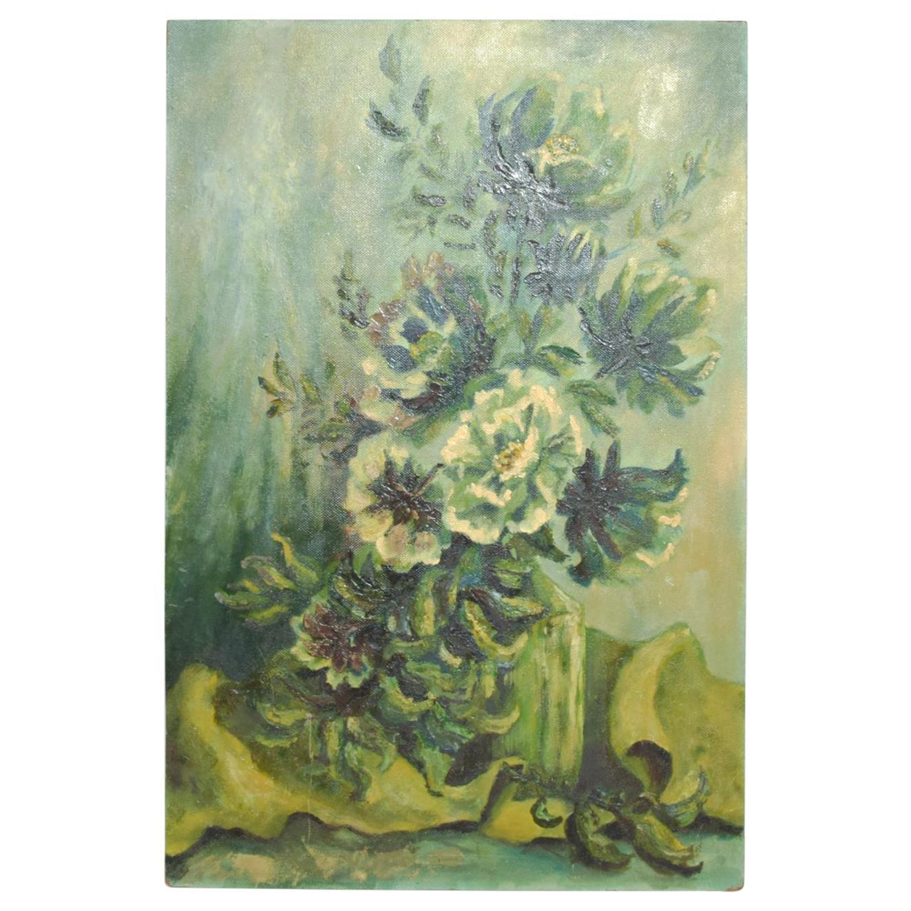 Vintage Oil Painting Still Life Green Floral Midcentury Art on Masonite