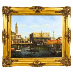 Vintage Oil Painting View Across The Grand Canal Venice, Mid 20th C