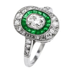 Vintage Old Cushion Diamond Emerald Platinum Engagement Ring