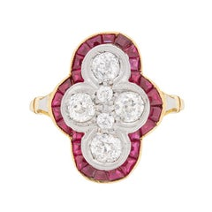 Vintage Old Cut Diamond and Ruby Cluster Dinner/Dress Ring, circa 1930s