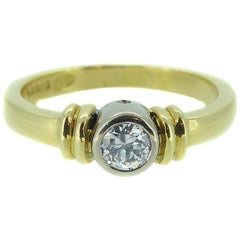 Vintage Old Cut Diamond Solitaire Ring, 0.20 Carat, 18 Carat Yellow Gold