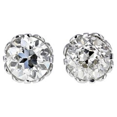Vintage Old-Cut Diamond Stud Earrings in Platinum