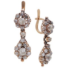 Vintage Old Cut Diamonds and Gold Earring Pair from a Private Collection