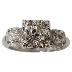 Vintage Old Euro Cut 3-Stone Ring EGL Certificate G SI3 Total Weight 1.67 Carat