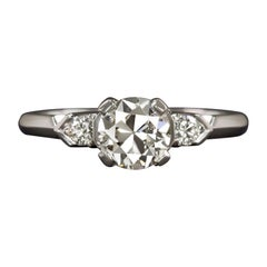 Vintage Old European 0.80 Carats Solitaire 18 Carats White Gold Ring, 1920