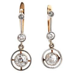 Vintage Old European Cut Diamond 18K Gold Dangle Earrings