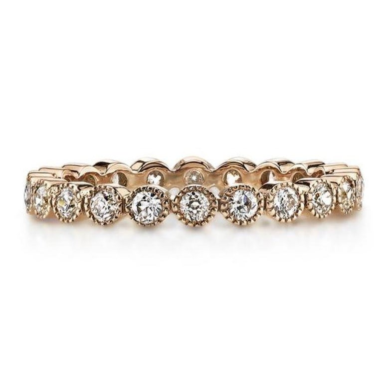 Contemporary 0.70 Carat Old European Cut Diamonds Set in a Handcrafted Gold Eternity Band For Sale