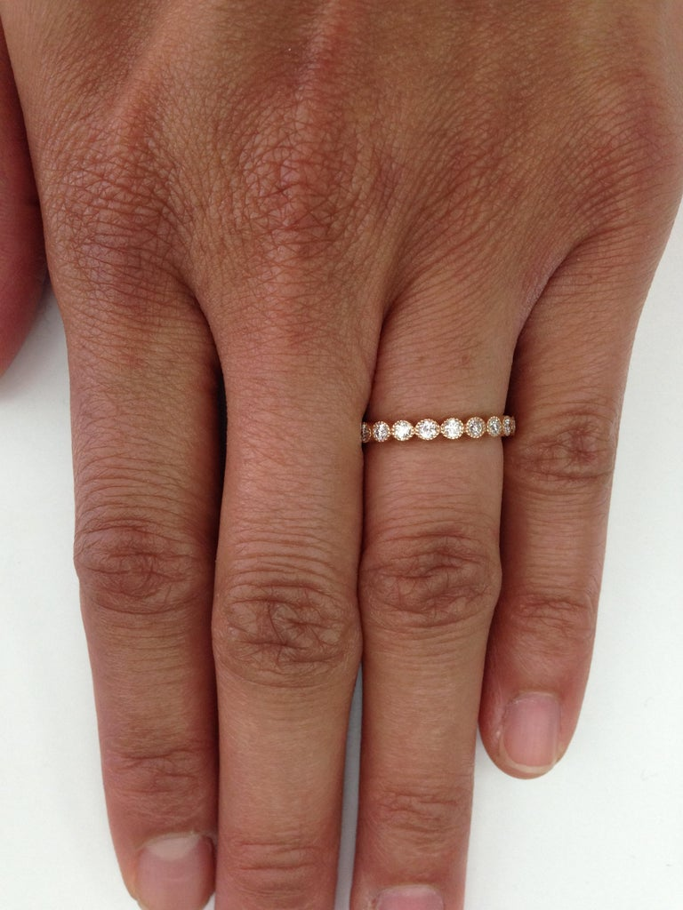 Approximately 0.70ctw old European cut diamonds set in a handcrafted 18k gold bezel set eternity band.   All of our jewelry is individually made to order in Los Angeles, please allow 6-8 weeks for delivery.   Please list the requested size/metal