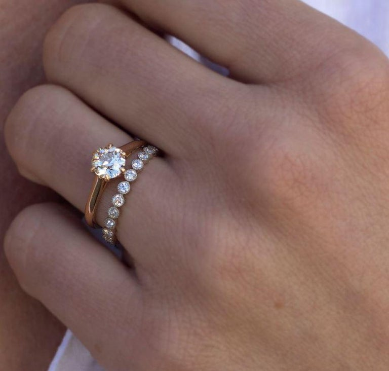 0.70 Carat Old European Cut Diamonds Set in a Handcrafted Gold Eternity Band In New Condition For Sale In Los Angeles, CA