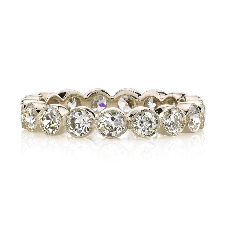 Contemporary 1.00 Carat Old European Cut Diamonds Set in a Handcrafted Gold Eternity Band For Sale