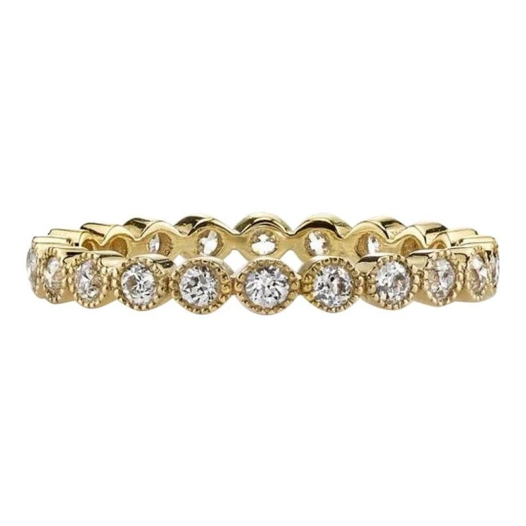 0.70 Carat Old European Cut Diamonds Set in a Handcrafted Gold Eternity Band For Sale